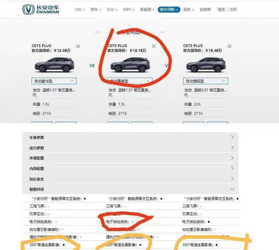 长安-CS75 PLUS配置虚假宣传